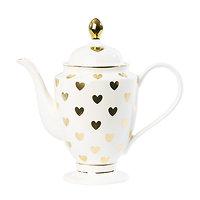 Tiana - Théière en céramique // Coeurs dorés