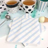 Nala - Serviettes en papier rayées // Ciel & blanc