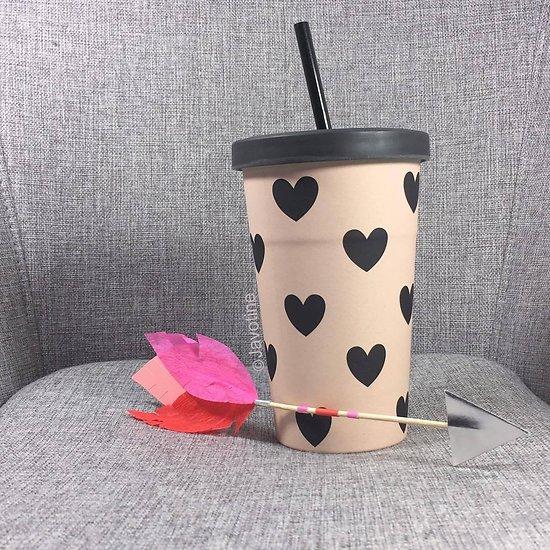 Timon - Travel mug paille // Rose cœurs