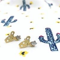 Cactus - Boucles d'oreilles fantaisie // Doré