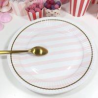 Prunella - Assiettes en carton // Rayures roses