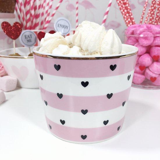 | AURORE | - Mug en céramique  // Rayures roses + cœurs