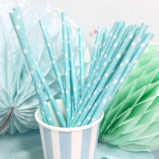 Sarabi - Pailles en papier // Turquoise étoiles blanches