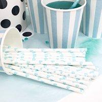 Sarabi - Pailles en papier // Blanc cœurs turquoise