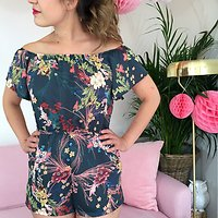 | ROSE | - Combi-short grues et fleurs // Vert anglais