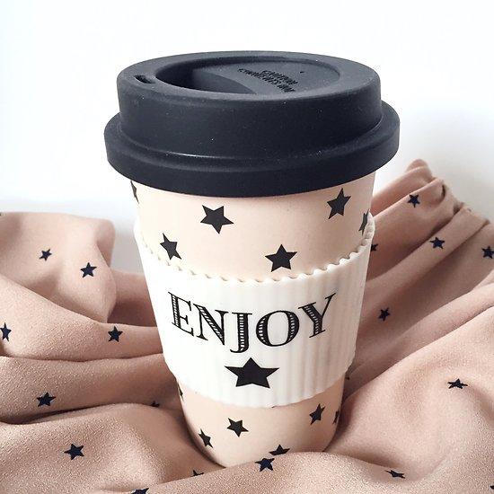 "Arielle - Travel mug ""Enjoy"" & étoiles // Rose"