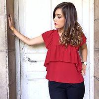 Solange - Blouse volantée // Rouge