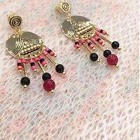 | SUSIE | - Boucles d'oreilles pastille + perles // Rouge & noir