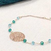 | CRYSTAL |- Bracelet or rose perles // Vert