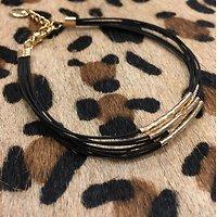| ABELLE | - Bracelet liens et tubes // Noir