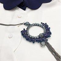 | ZIGGY | - Sautoir en pierres tissées // Bleu