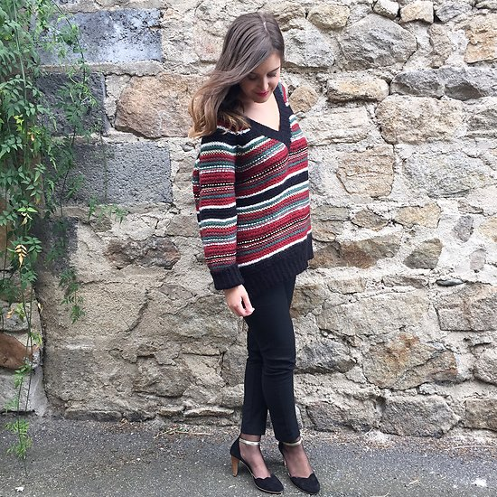 | PIA | - Pull rayé oversize // Bordeaux