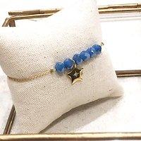 | ESTELLE | - Bracelet perles + étoile // Bleu