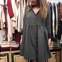 | MANON | - Robe ample boutonnée // Gris