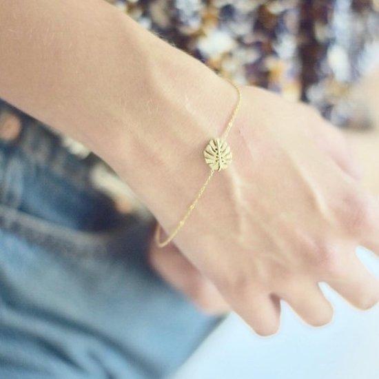 | PALMITO | - Bracelet fantaisie feuille de palmier // Doré