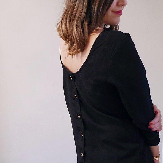  CHEMINÉE  - Blouse boutons dos // Noir