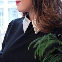 | GENÈVE | - Robe droite col irisé // Noir