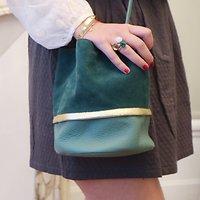   BUCKET S   - Petit sac seau tricolore en cuir // Vert