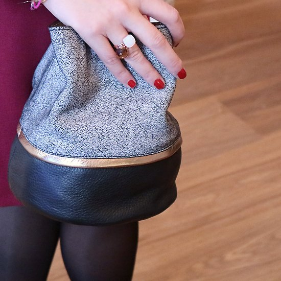 | BUCKET S | - Petit sac seau tricolore en cuir // Gris & noir
