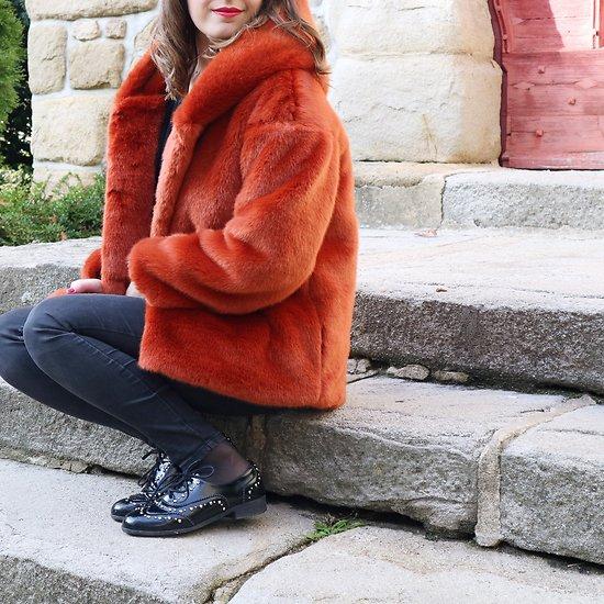   MARYLINE   - Veste fourrure à capuche // Terracotta