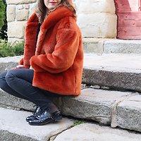 | MARYLINE | - Veste fourrure à capuche // Terracotta