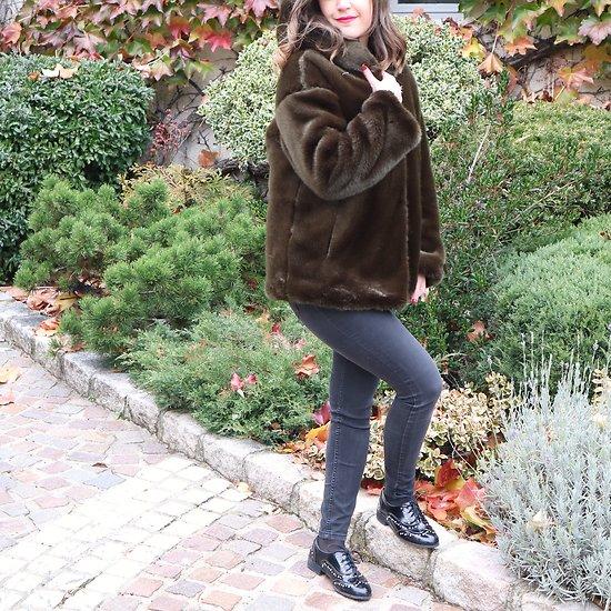| MARYLINE | - Veste fourrure à capuche // Kaki