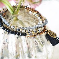   FLORE   - Bracelet/Collier en perles // Noir