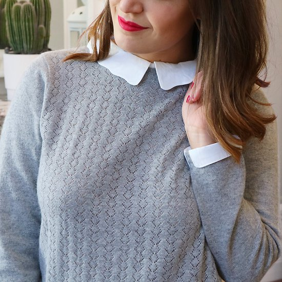 | EDELWEISS | - Pull ajouré petit col // Gris