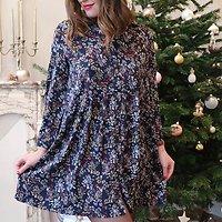 | ISAAC | - Robe ample fleurie // Marine