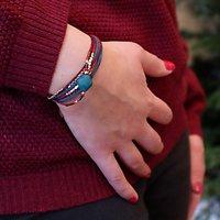 | WONDER | - Bracelet multirangs trèfle // Bordeaux & canard