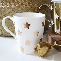 | CLÉO | - Tasse avec anse étoiles dorées // Blanc