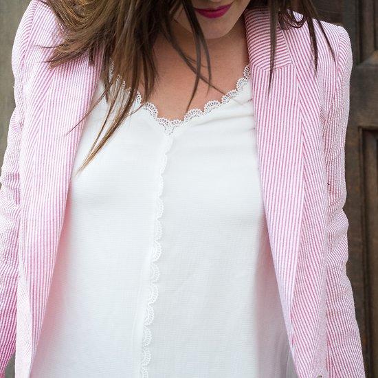 | VAGUE | - Veste droite rayée // Rose & blanc