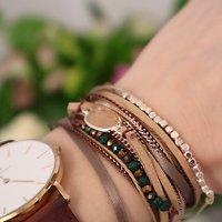 | LINETTE | - Bracelet multirangs suédine // Taupe & kaki