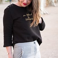 "| CÉLINE | - Sweat ""En weekend & amoureuse"" // Noir"