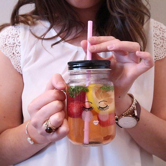 | BELLE | - Jar en verre avec paille