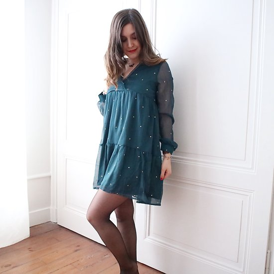 | PRESTON | - Robe voile à pois // Vert