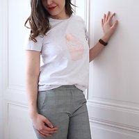 | CUPCAKE | - T-shirt imprimé + pompon // Gris chiné