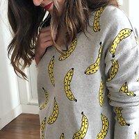 | BANANA SPLIT | - Pull imprimé bananes // Gris