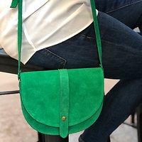 | BRUNELLE | - Petit sac besace cuir // Vert