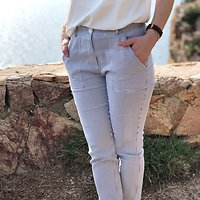 | PIRATE | - Pantalon léger à fines rayures // Gris