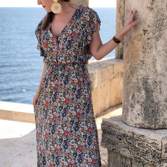   RÉVOLTE   - Robe longue fleurie // Marine