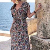 | RÉVOLTE | - Robe longue fleurie // Marine