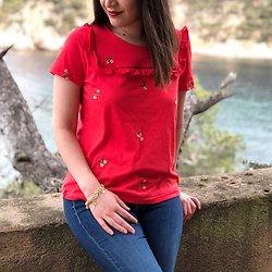 | MORUYA | - Tshirt fleurs brodées