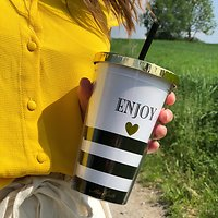 "| TIMON | - Travel mug paille ""enjoy"" //  Blanc & noir"