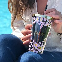 "| TIMON | - Travel mug paille ""enjoy "" // Rose & noir"