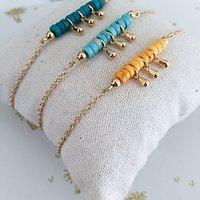 | ZOHAR | - Bracelet perles et pampilles // Orangé