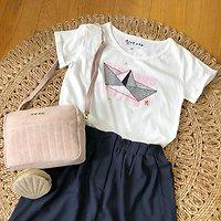 | VOYAGE | - T-shirt imprimé bateau // Blanc & rose