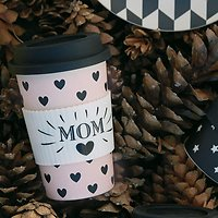 "| ARIELLE | - Travel mug ""Mom"" // Rose & noir"