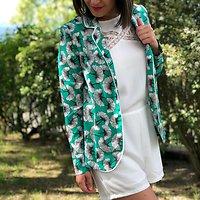 | MARINA | -  Veste fluide fleurs ginkgo // Vert