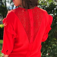 | BÊTISE | -  Top volants dentelle // Rouge corail